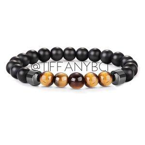 Hematite Tiger Eye Black Onyx Bracelet